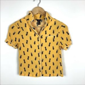 Forever 21 Pineapple Button Up Top Girls Top